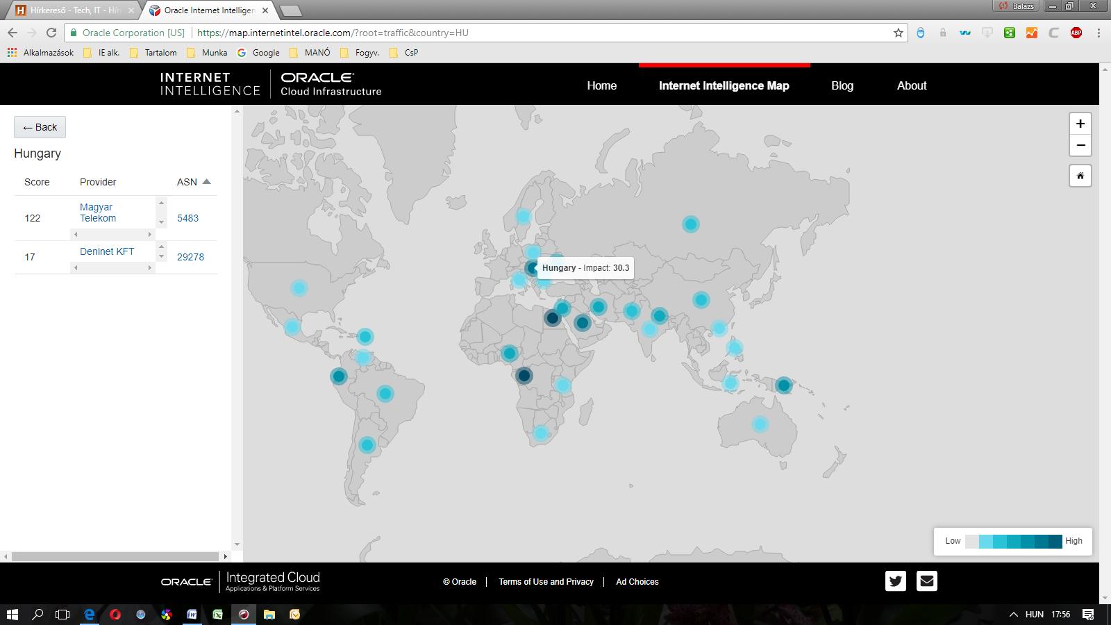 3bd76018ac Az Internet Intelligence Map nyomkövetések, BGP és DNS kérések alapján  országokra lebontott kapcsolódási statisztikákat nyújt, egyetlen  kezelőfelületen.